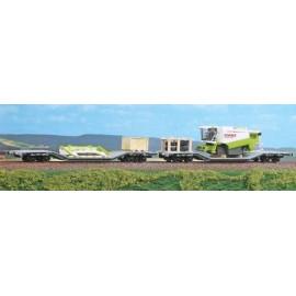 Set di due carri FS Uai con mezzo agricolo smontato. Ep.V